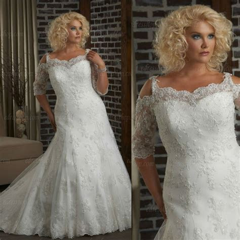 2013 Half Sleeves Fit and Flare Lace Plus Size Bridal