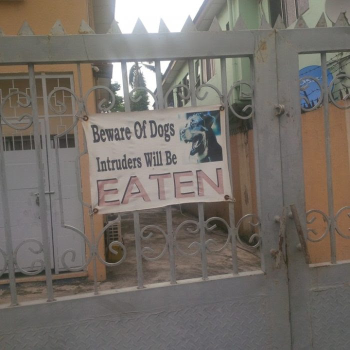 See The Funny Dog Post I Saw Today At Ikeja, Lagos
