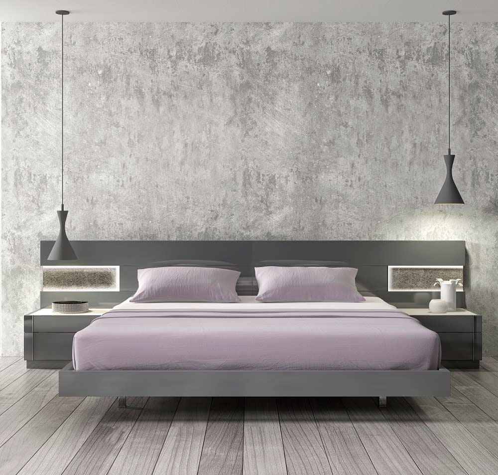 Grey Lacquer Natural wood Bed SJ Barto | Contemporary Bedroom