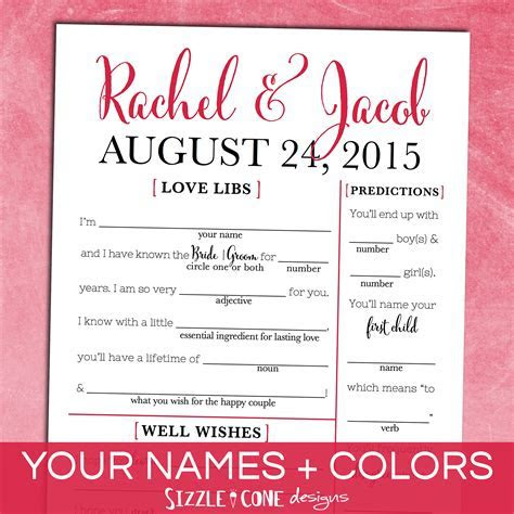 Personalized Wedding Guest Libs Printable #214   [the best