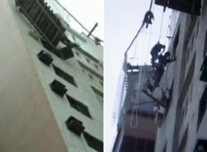 Andaime quebra e operários  ficam a 30 m de altura em SP (Reprodução/TV Globo)
