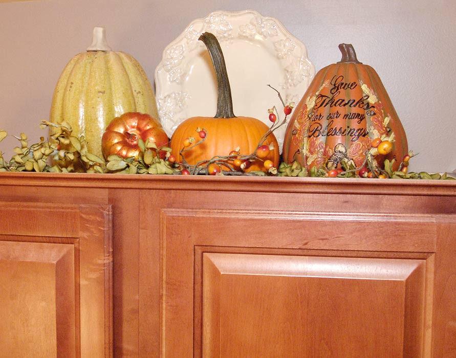 Fall kitchen decor; Ballard Designs rug | Living Rich on Less
