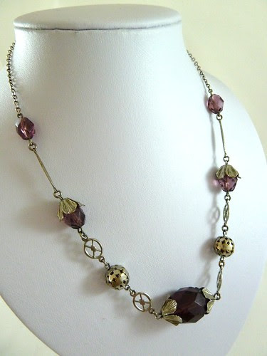 20s Amethyst Glass & Silver Necklace