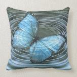 Sky Blue Butterfly Ripples Throw Pillow