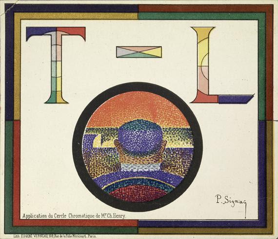 """Paul Signac, """"Application du cercle chromatique de Mr. Ch. Henry (programme pour le Théâtre-Libre)"""", 1888. Lithographie, 16 x 18,5 cm. Archives Signac."""