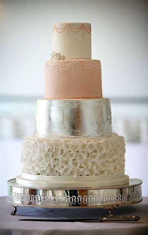 Peach, White Textured and Silver Wedding Cake   wedding