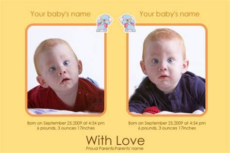 Free photo templates   Twins Baby Birth Announcement Series 2
