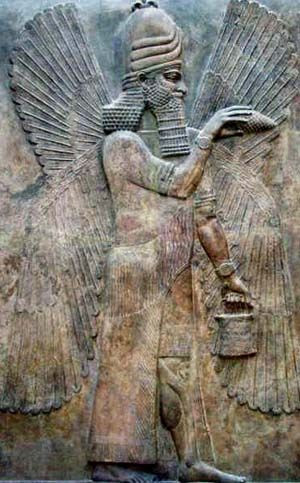 A carving of an Anunnaki, an ancient  Mesopotamian deity of the underworld.