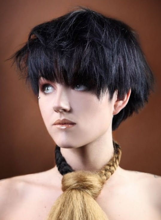 2014 Hairstyles: Short Black Bob Hairstyle with Bangs for Thick Hair - Pretty Designs