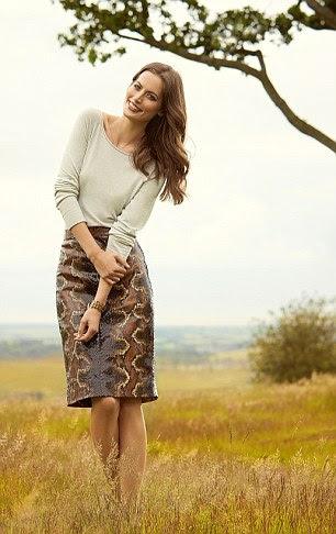 Snake-print skirt, £285, jcrew.com. Sweater, £59, kew159.com