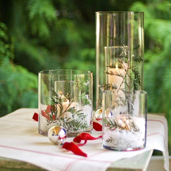 Wintry Double-Glass Candle Display