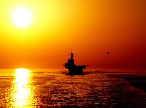 The amphibious assault ship USS Bataan (LHD 5) transits the Strait of Hormuz. / Credit:U.S. Navy