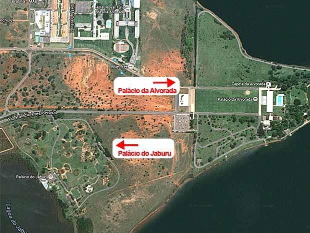 Palácios da Alvorada, residência oficial do presidente da República, e do Jaburu, do vice-presidente, em Brasília (Foto: Google Maps/Reprodução)