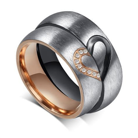 Promise Ring for Women and Men Stainless Steel Lover