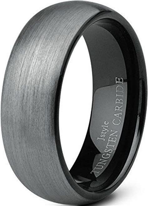 Jstyle Jewelry Tungsten Rings for Men Wedding Band Black