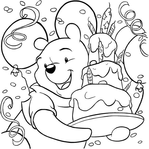 Disegno Di Winnie The Pooh Con La Torta Di Compleanno Da Colorare