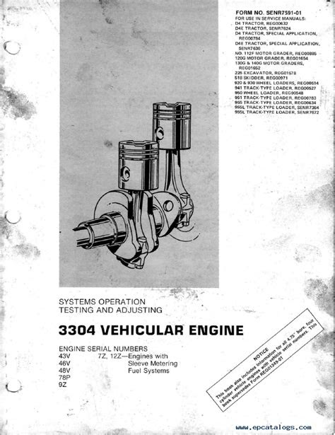 caterpillar 3304 Vehicular Engine PDF Books & Manuals