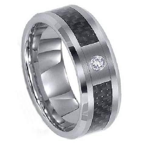 Mens Titanium Wedding Ring   Carbon Fiber and CZ