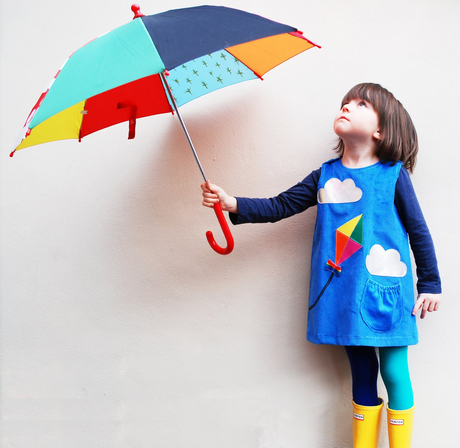 KITE & silver cloud- Little girls dress -Windy Day- blue corduroy age 6M to 6T-Wild Things Dresses