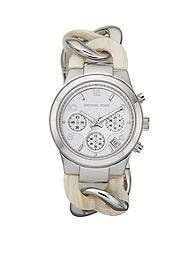 Michael Kors Mid-Size Alabaster Acetate and Silver Tone Stainless Steel Runway Twist Chronograph Watch