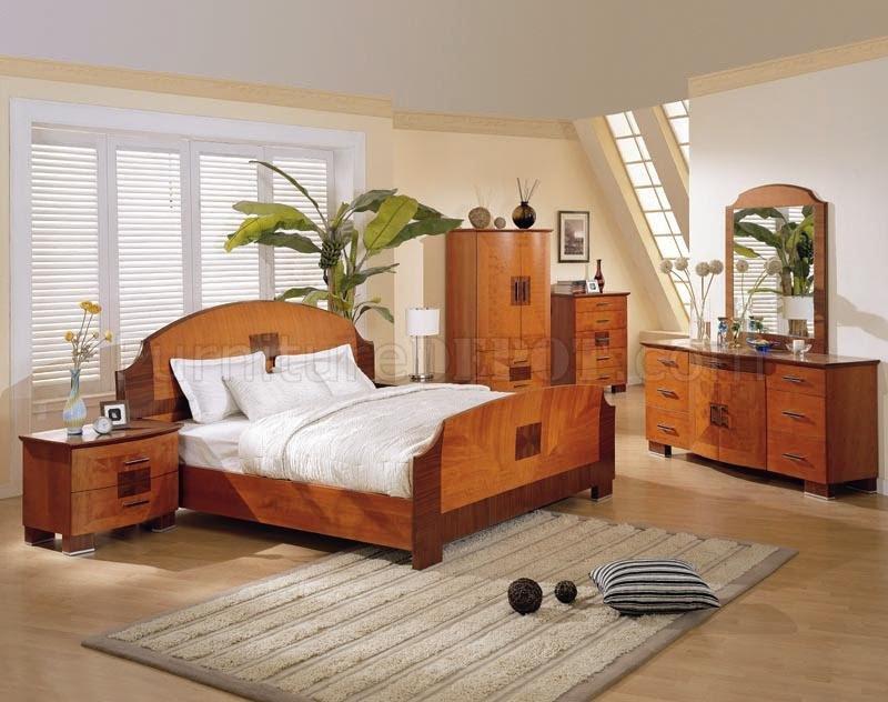 Cherry Color Medium Gloss Finish Modern Bedroom