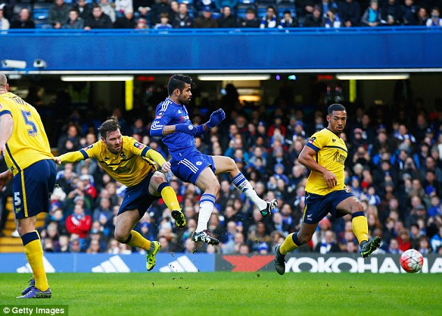 Diego Costa steered inBranislav Ivanovic's right-wing cross to put Chelsea ahead after 12 minutes
