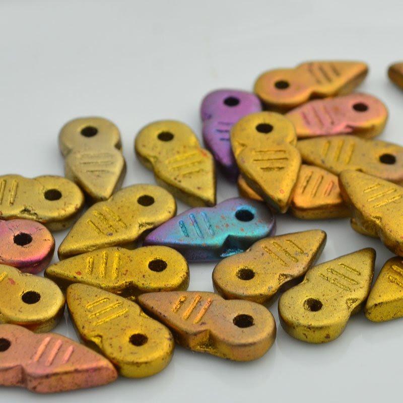 s46344 Czech Seedbeads -  Spearhead - Gold Iris (6)