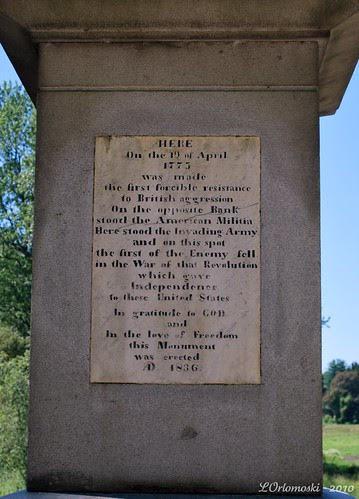 Plaque on the obelisk at the Old North Bridge
