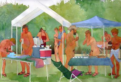 outdoor vendors at naturist event
