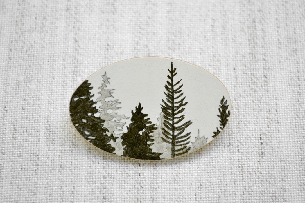 Timber Brooch in Grey and Graphite - Hand Drawn Forest Jewelry