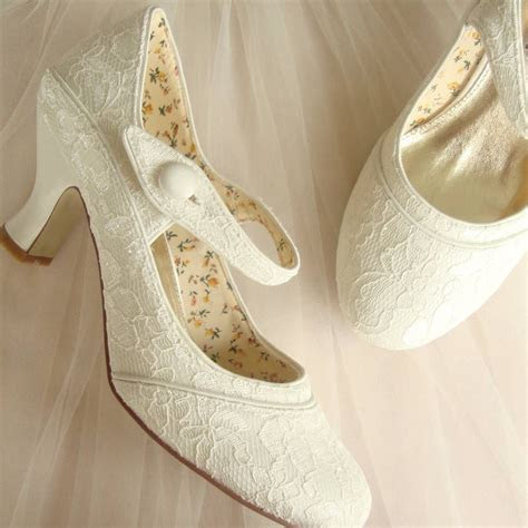 Stunning White Lace Wedding Low Heel Shoes   Trends4Ever