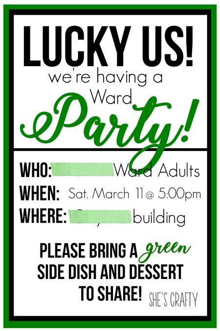 ward party, adults party, st patricks day party