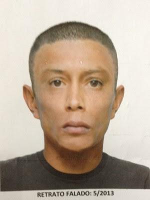 Retrato falado de suspeito de atirar em grávida (Foto: Divulgação/SSP)