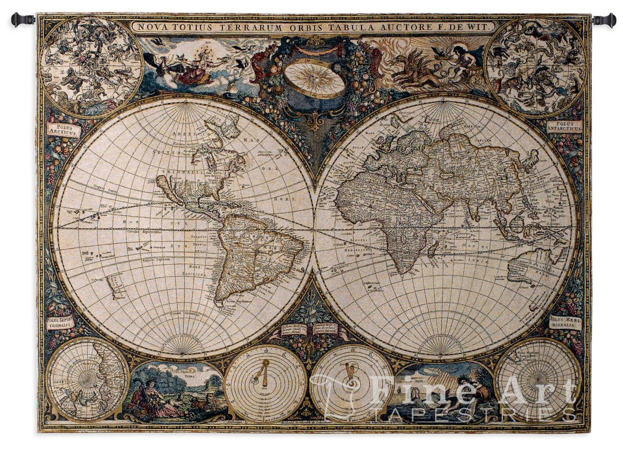 Old World Map Tapestry Wall Hanging H38 X W53