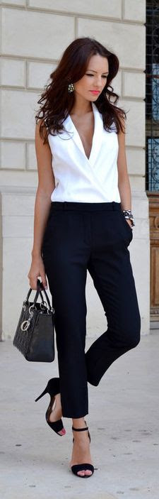 29 chic black and white work outfits for girls  styleoholic
