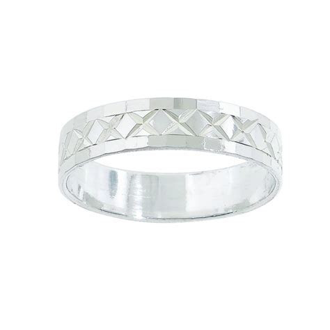 Sterling Silver Laser Cut Wedding Bands
