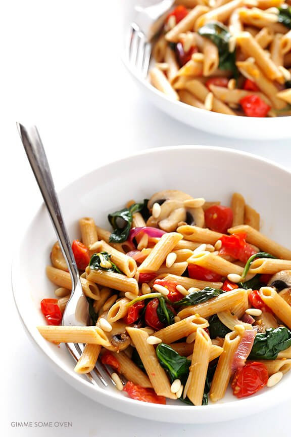 Pasta with Mushrooms Tomatoes and Spinach