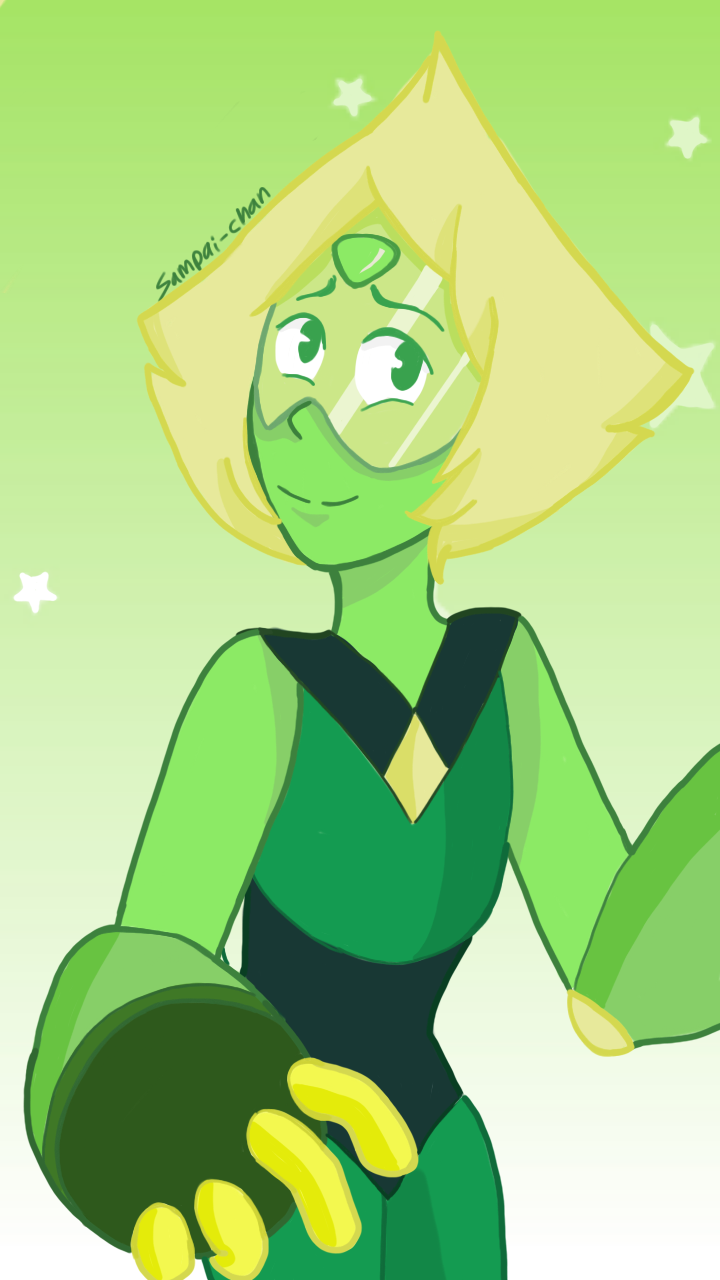 I drew peridot in her gear because she is smol and innocent, I had help from a special friend Cx Have a good day ❤