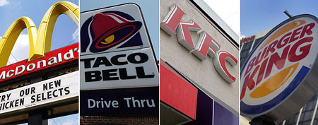 Guess customers aren't lovin' this service. Here, fast food restaurants (L-R)  Getty Images