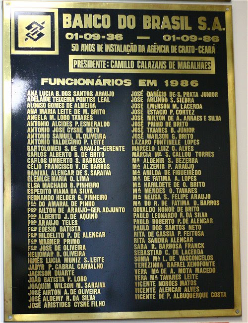 placa do banco do Brasil