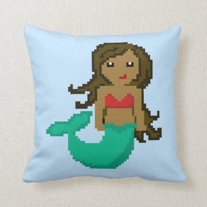 8Bit Pixel Geek Mermaid with Dark Skin Throw Pillow