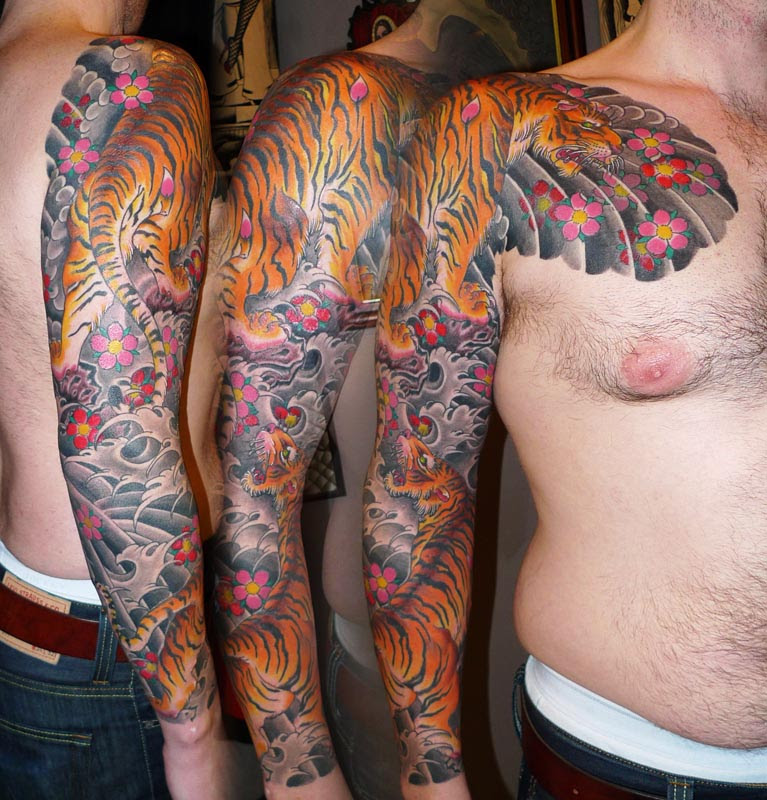 Amazing Colored Tiger Tattoos On Sleeve For Men
