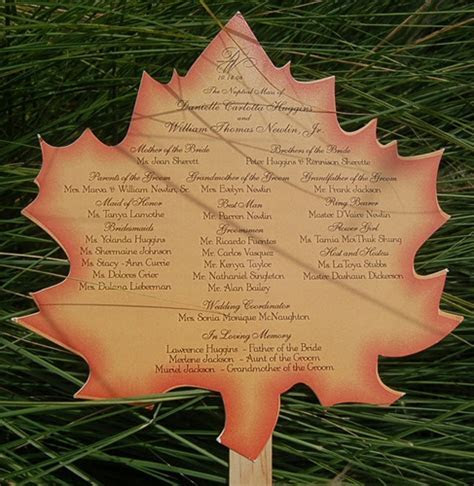 Maple Leaf Fan Fall Wedding Ceremony Program, New York