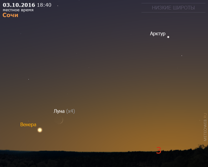 Растущая Луна и Венера на вечернем небе Сочи 3 октября 2016 г.