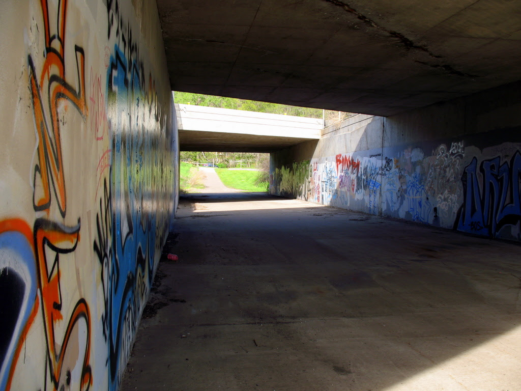 just some graffiti in a tunnel under highway 61 in st paul