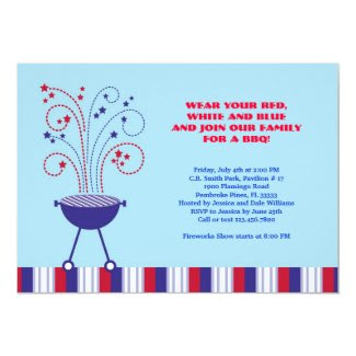 "4th of July BBQ Invitation 5"" X 7"" Invitation Card"
