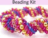 Beading Kit and Tutorial - Gorgeous Vine Bracelet in Raspberry, Yellow and Sapphire - SimpleBeadPatterns
