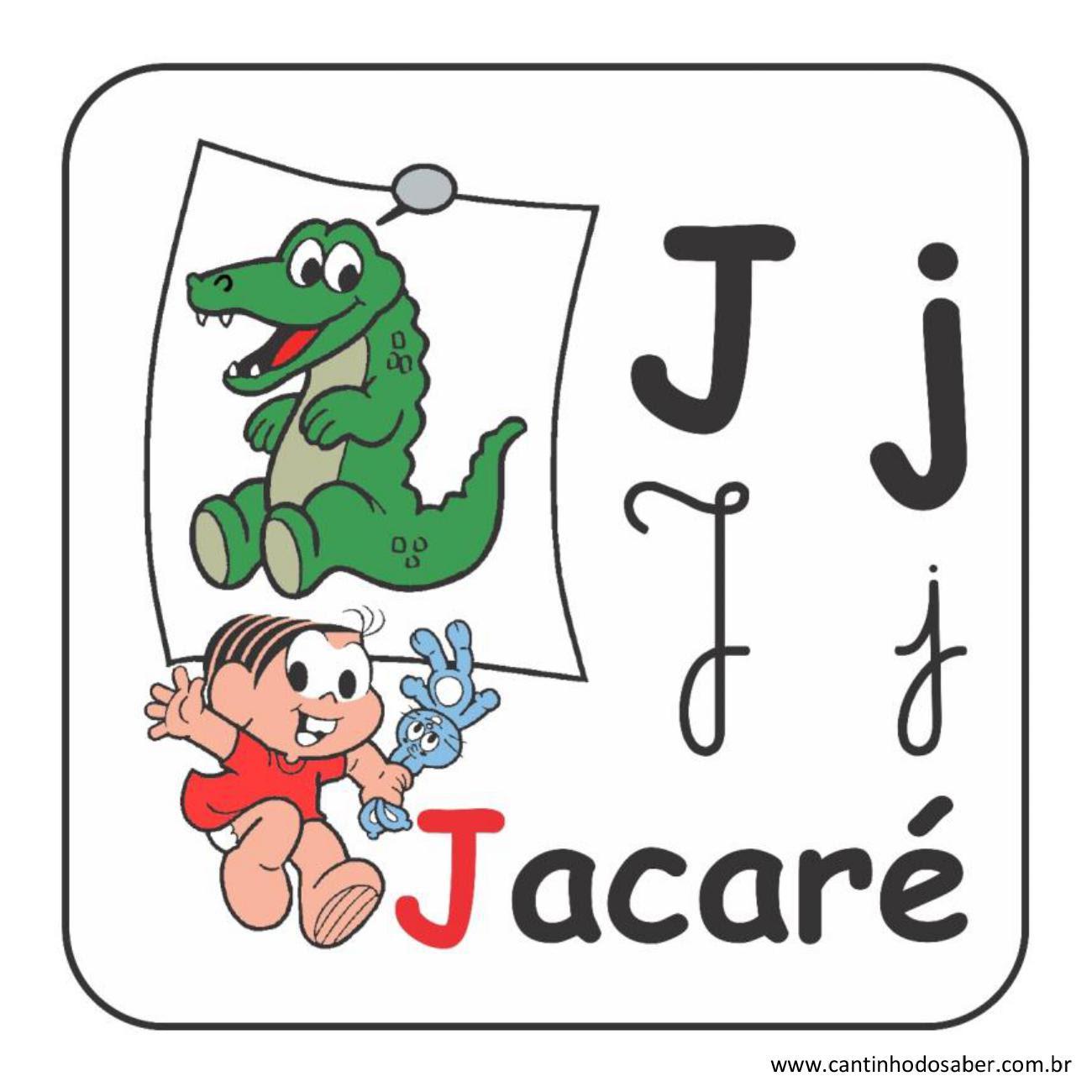 Alfabeto da turma da mônica em letra bastão e cursiva letra j