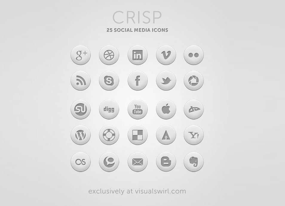 Crisp: Free Round Social Icon Set