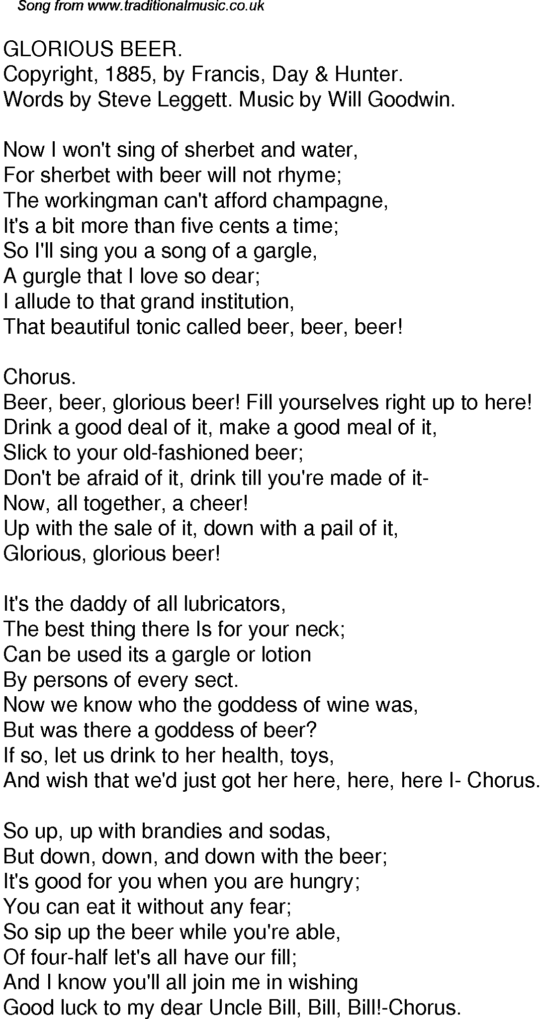 Old Time Song Lyrics For 49 Glorious Beer